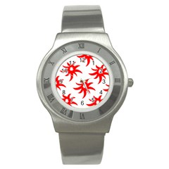 Star Figure Form Pattern Structure Stainless Steel Watch