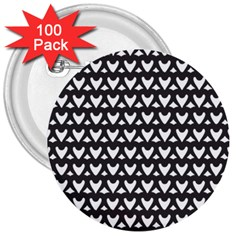 Heart Black Chain White 3  Buttons (100 Pack)
