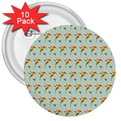 Birds Hummingbirds Wings 3  Buttons (10 Pack)  by Celenk