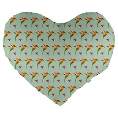 Birds Hummingbirds Wings Large 19  Premium Heart Shape Cushions by Celenk