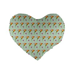Birds Hummingbirds Wings Standard 16  Premium Flano Heart Shape Cushions by Celenk