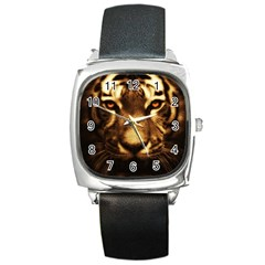 Cat Tiger Animal Wildlife Wild Square Metal Watch by Celenk