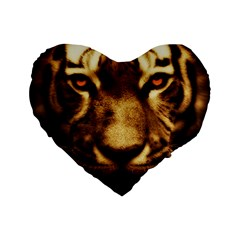 Cat Tiger Animal Wildlife Wild Standard 16  Premium Flano Heart Shape Cushions by Celenk