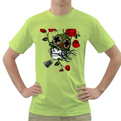 Skull Skeleton Dead Death Face Green T Shirt