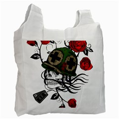 Skull Skeleton Dead Death Face Recycle Bag (two Side)  by Celenk