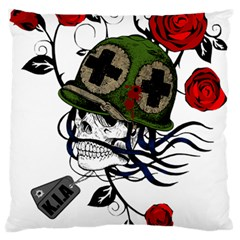 Skull Skeleton Dead Death Face Large Flano Cushion Case (two Sides) by Celenk