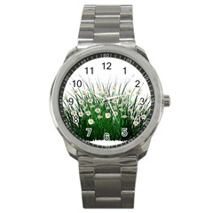 Spring Flowers Grass Meadow Plant Sport Metal Watch
