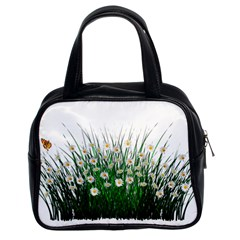 Spring Flowers Grass Meadow Plant Classic Handbags (2 Sides)