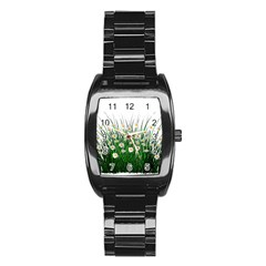 Spring Flowers Grass Meadow Plant Stainless Steel Barrel Watch by Celenk
