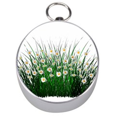 Spring Flowers Grass Meadow Plant Silver Compasses by Celenk