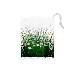 Spring Flowers Grass Meadow Plant Drawstring Pouches (small)  by Celenk