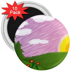 Pine Trees Sunrise Sunset 3  Magnets (10 Pack)  by Celenk