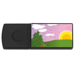 Pine Trees Sunrise Sunset Rectangular Usb Flash Drive