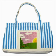 Pine Trees Sunrise Sunset Striped Blue Tote Bag