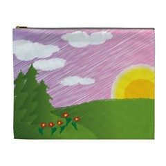 Pine Trees Sunrise Sunset Cosmetic Bag (xl) by Celenk
