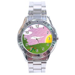Pine Trees Sunrise Sunset Stainless Steel Analogue Watch by Celenk