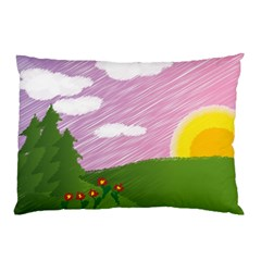 Pine Trees Sunrise Sunset Pillow Case (two Sides)