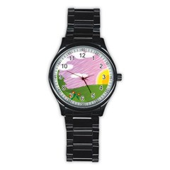 Pine Trees Sunrise Sunset Stainless Steel Round Watch by Celenk