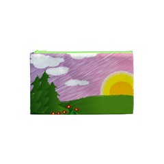 Pine Trees Sunrise Sunset Cosmetic Bag (xs) by Celenk