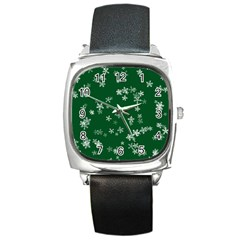 Template Winter Christmas Xmas Square Metal Watch by Celenk