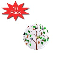 Tree Root Leaves Owls Green Brown 1  Mini Magnet (10 Pack)  by Celenk
