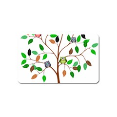 Tree Root Leaves Owls Green Brown Magnet (name Card) by Celenk