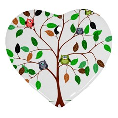 Tree Root Leaves Owls Green Brown Heart Ornament (two Sides) by Celenk