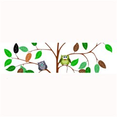 Tree Root Leaves Owls Green Brown Large Bar Mats