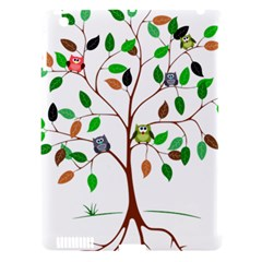 Tree Root Leaves Owls Green Brown Apple Ipad 3/4 Hardshell Case (compatible With Smart Cover) by Celenk