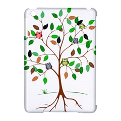 Tree Root Leaves Owls Green Brown Apple Ipad Mini Hardshell Case (compatible With Smart Cover) by Celenk