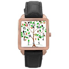Tree Root Leaves Owls Green Brown Rose Gold Leather Watch  by Celenk