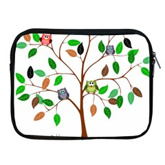 Tree Root Leaves Owls Green Brown Apple Ipad 2/3/4 Zipper Cases