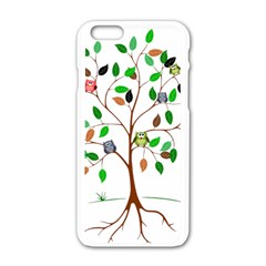 Tree Root Leaves Owls Green Brown Apple Iphone 6/6s White Enamel Case by Celenk