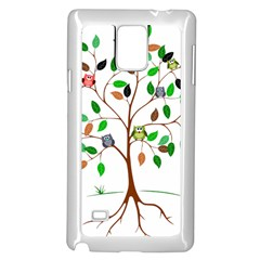 Tree Root Leaves Owls Green Brown Samsung Galaxy Note 4 Case (white) by Celenk