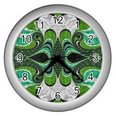 Fractal Art Green Pattern Design Wall Clocks (silver)  by Celenk