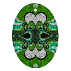 Fractal Art Green Pattern Design Oval Ornament (two Sides)