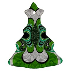 Fractal Art Green Pattern Design Christmas Tree Ornament (two Sides) by Celenk