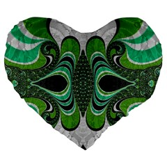 Fractal Art Green Pattern Design Large 19  Premium Flano Heart Shape Cushions