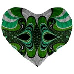 Fractal Art Green Pattern Design Large 19  Premium Flano Heart Shape Cushions Front
