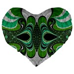 Fractal Art Green Pattern Design Large 19  Premium Flano Heart Shape Cushions Back