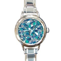 Abstract Background Blue Teal Round Italian Charm Watch