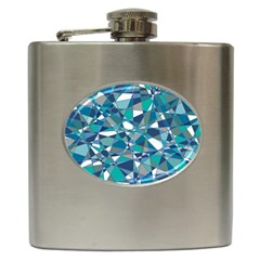Abstract Background Blue Teal Hip Flask (6 Oz) by Celenk
