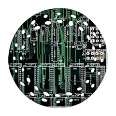 Printed Circuit Board Circuits Ornament (round Filigree) by Celenk
