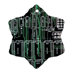 Printed Circuit Board Circuits Snowflake Ornament (two Sides) by Celenk