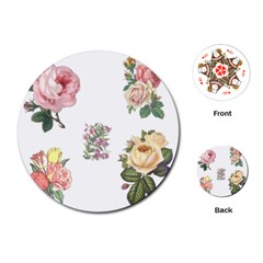 Rose Flowers Campanula Bellflower Playing Cards (round)
