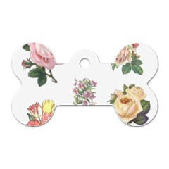 Rose Flowers Campanula Bellflower Dog Tag Bone (one Side)