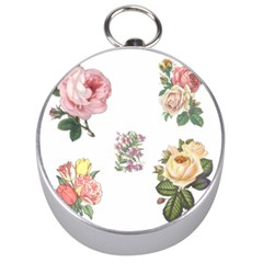 Rose Flowers Campanula Bellflower Silver Compasses by Celenk