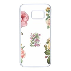 Rose Flowers Campanula Bellflower Samsung Galaxy S7 White Seamless Case