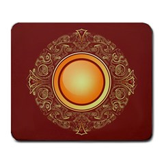 Badge Gilding Sun Red Oriental Large Mousepads by Celenk