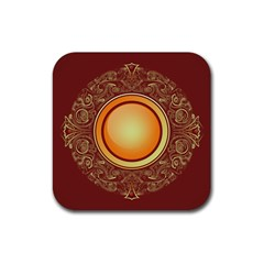 Badge Gilding Sun Red Oriental Rubber Square Coaster (4 Pack)  by Celenk